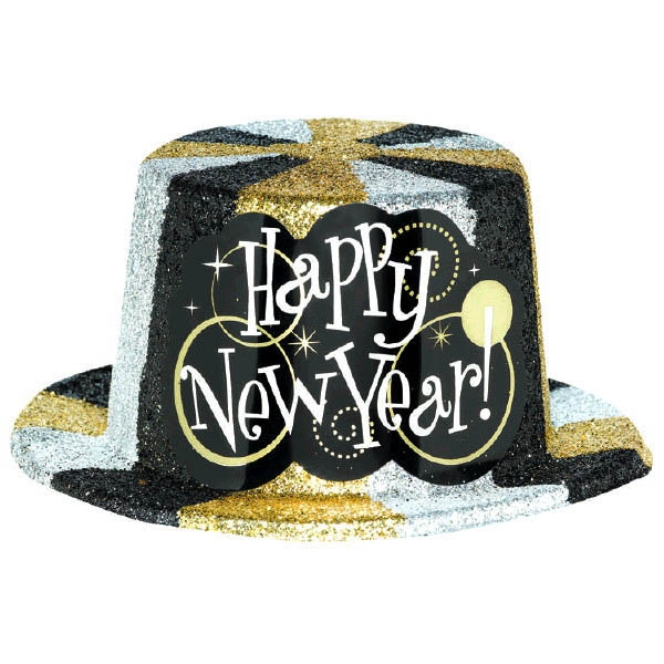 Glitter Plastic Top Hat - Black Silver & Gold