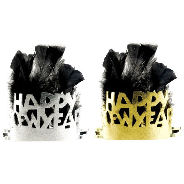 Black & Gold Feathered Paper New Year Tiaras
