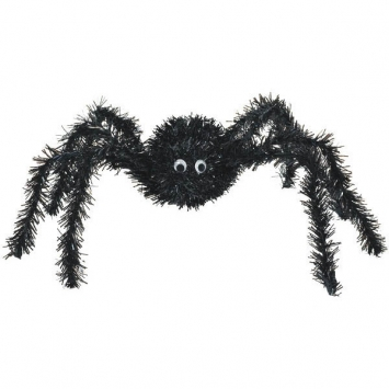 3-D Black Spider Tinsel Decoration