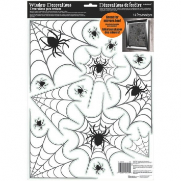 Modern Halloween Spider Web Window Decoration 17 in