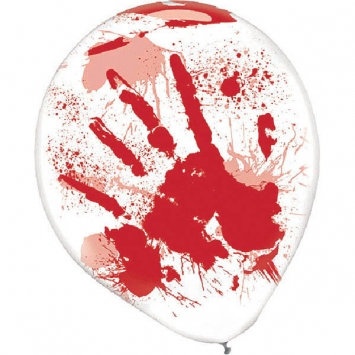 Asylum Printed Latex Balloons Clear with Red Blood Splatter 6ct