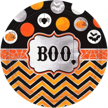 Modern Halloween 7 in. Round Metallic Plates 8ct