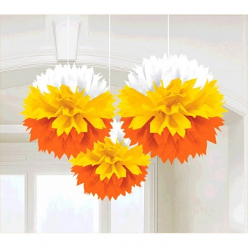 Candy Corn Fluffies Hanging Decoration 3ct