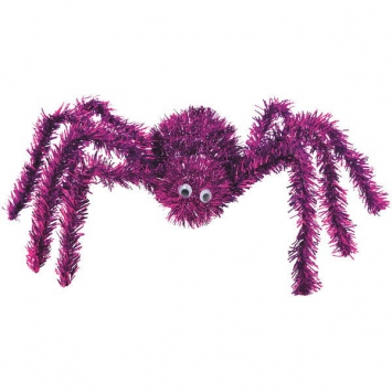 3-D Purple Spider Tinsel Decoration