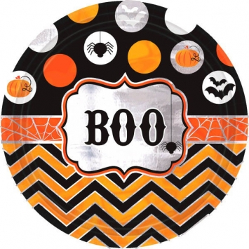 Modern Halloween 9 in. Round Metallic Plates 8ct