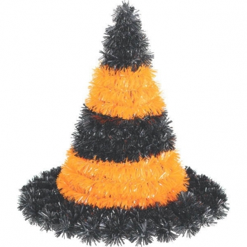 3-D Black and Orange Witch Hat Tinsel Decoration