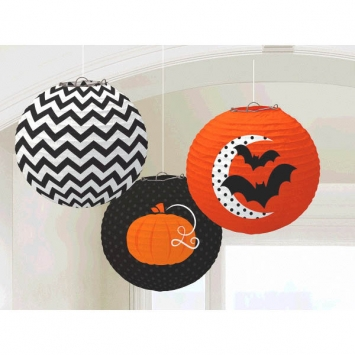 Modern Halloween Printed Lanterns 9.5in 3ct