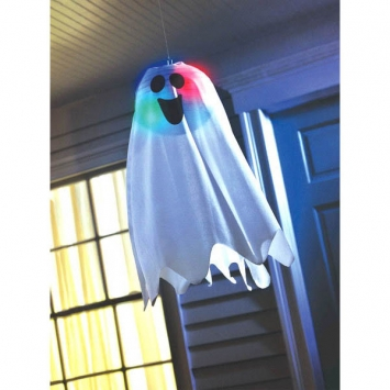 Halloween Light-Up Ghost Fabric Hanging Decoration 18 x 6 inch