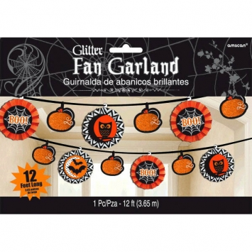 Modern Halloween Fan Banner Garland 12 ft
