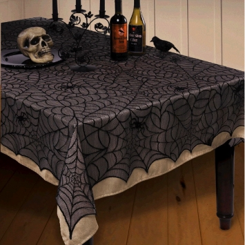 Midnight Lace Fabric Table Cover 84 in.