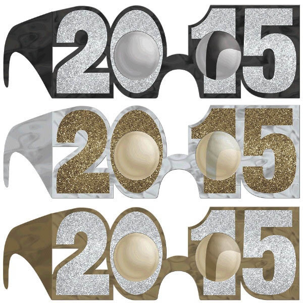 2015 New Year's Glitter Glasses Multipack - Black Silver & Gold