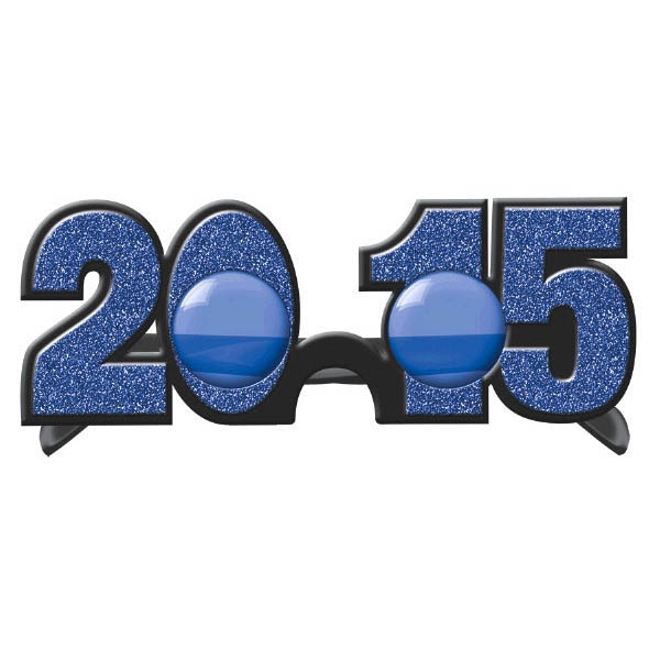 2015 New Year's Glitter Glasses - Bright Royal Blue
