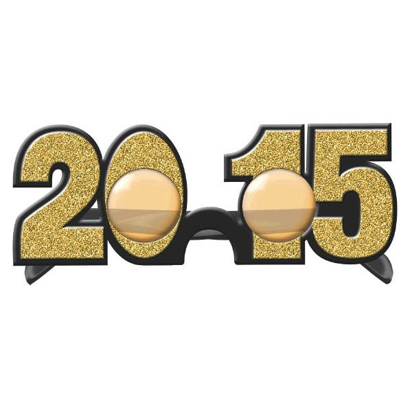 2015 New Year's Glitter Glasses - Gold