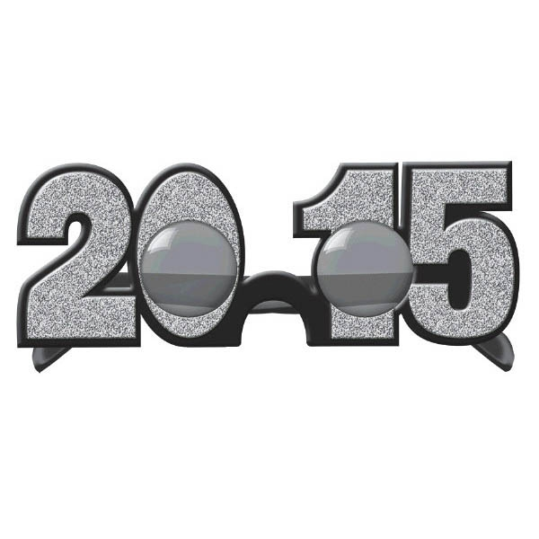2015 New Year's Glitter Glasses - Silver