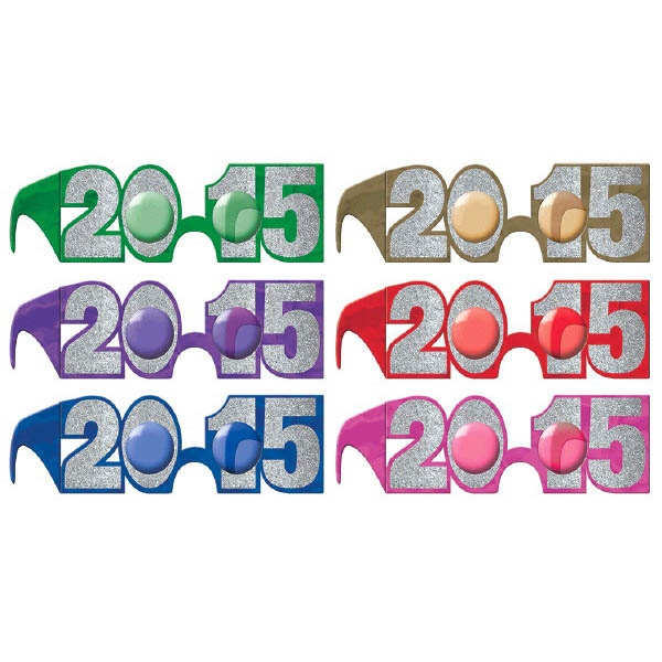 2015 New Year's Glitter Glasses Multipack - Jewel Tones