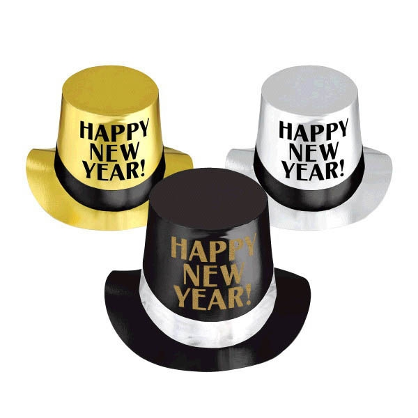 Happy New Year Top Hats - Black Silver & Gold