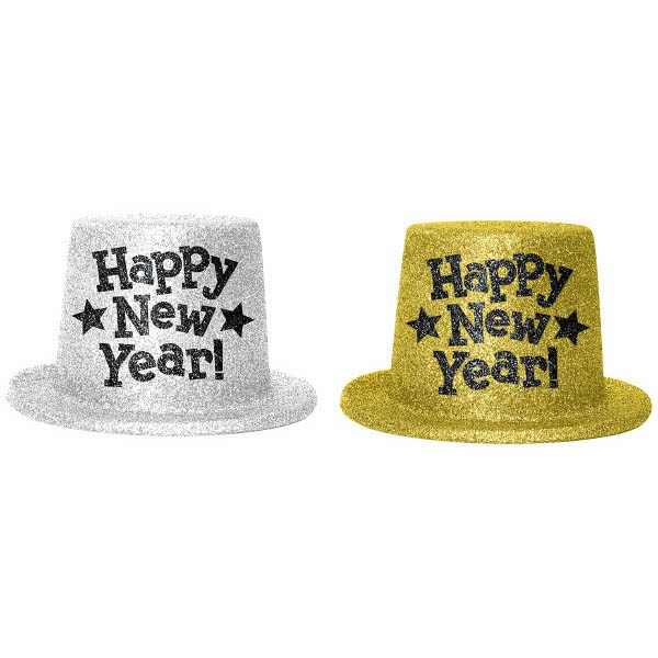 Happy New Year Top Hats - Silver & Gold