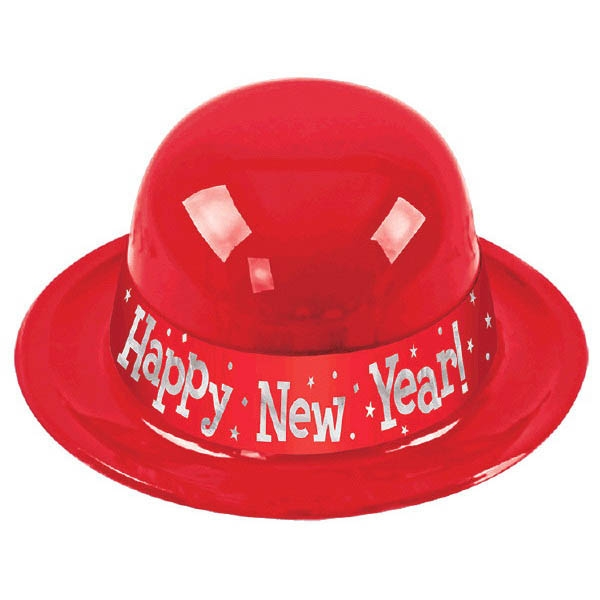 Happy New Year Derby Hat - Red
