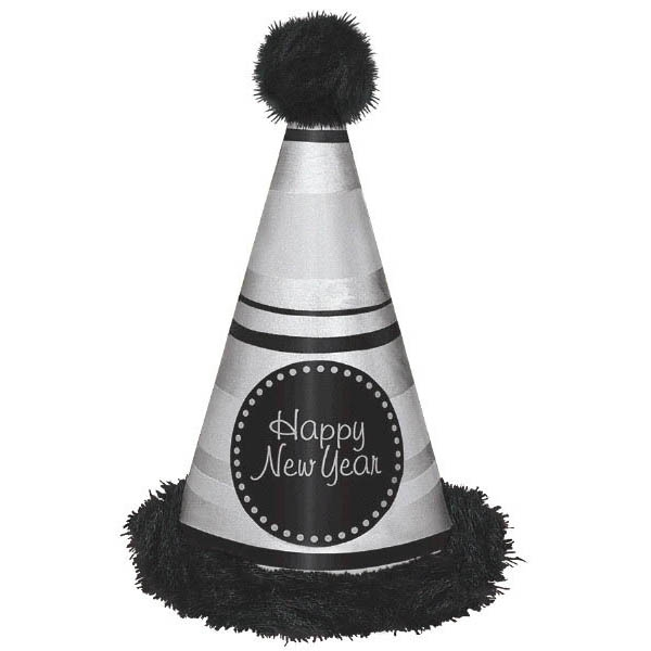 Happy New Year Deluxe Cone Hat Marabou Trim - Silver & Black