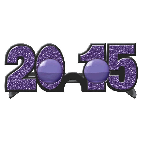 2015 New Year's Glitter Glasses - Purple