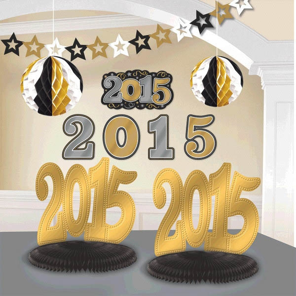 2015 New Year's Decorating Kit - Black Silver & Gold
