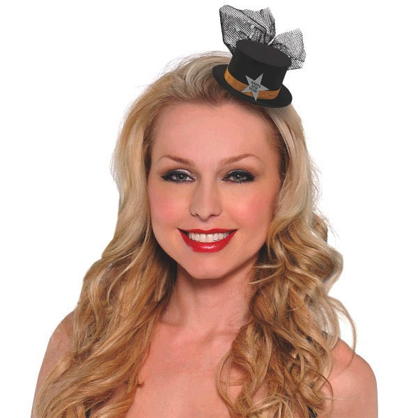 Happy New Year Mini Top Hat Hair Clip - BlackSilverGold