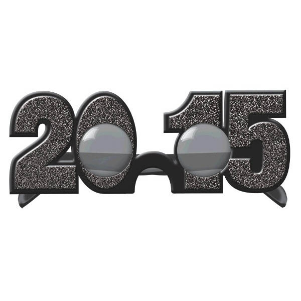 2015 New Year's Glitter Glasses - Black