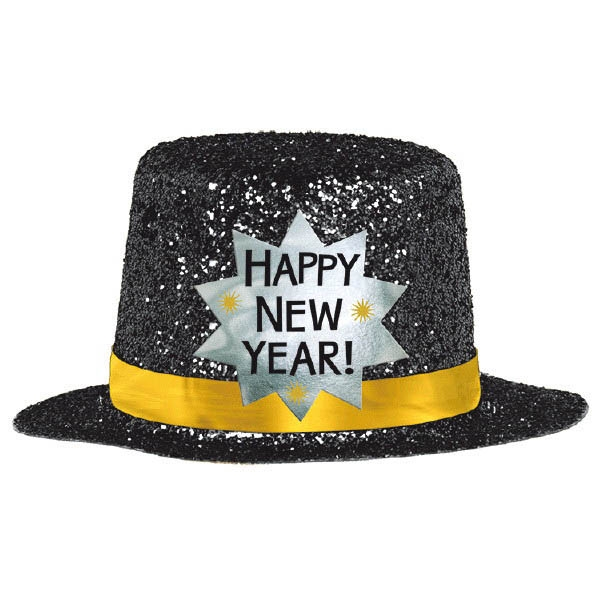 Mini Glitter Top Hat - Black
