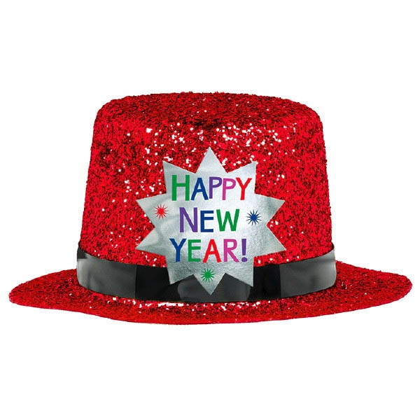 Mini Glitter Top Hat - Red