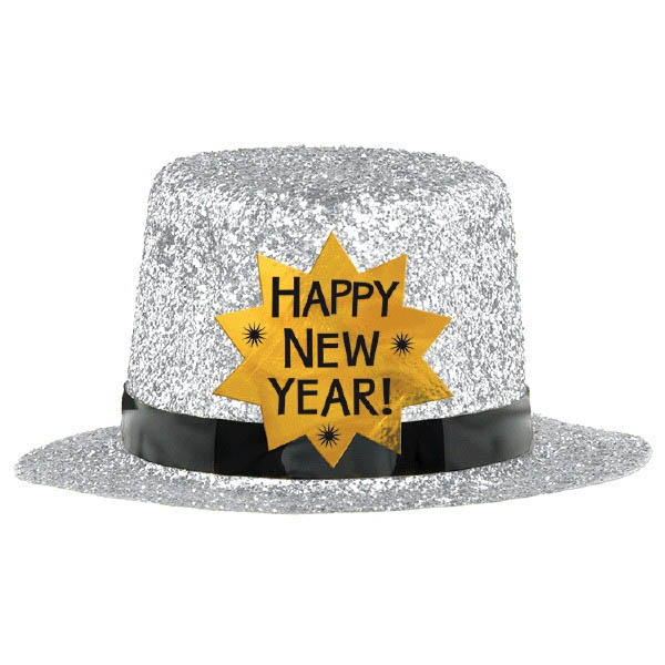 Mini Glitter Top Hat - Silver