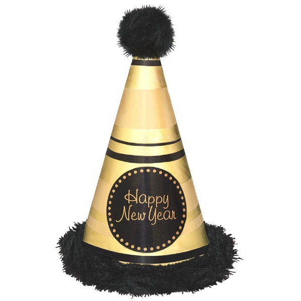 Happy New Year Deluxe Cone Hat Marabou Trim - Black & Gold