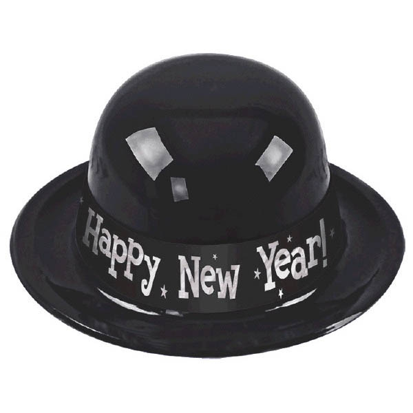 Happy New Year Derby Hat - Black