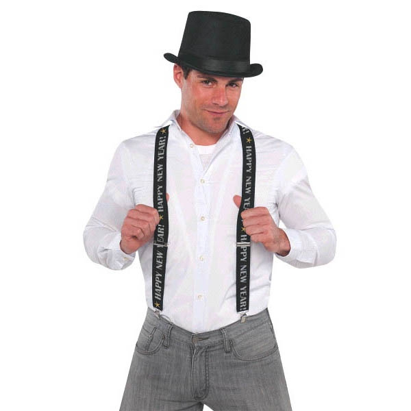 Happy New Year Suspenders - BlackSilverGold