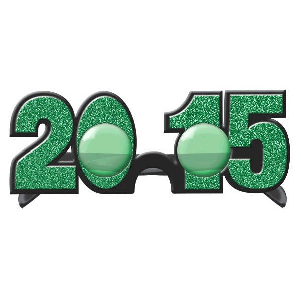 2015 New Year's Glitter Glasses - Green
