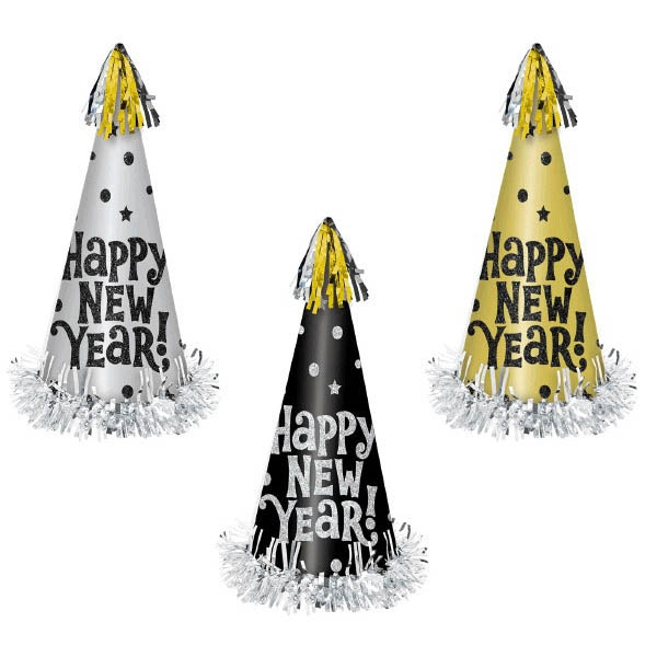 Happy New Year Large Cone Hats Assortment - Black Silver & Gold
