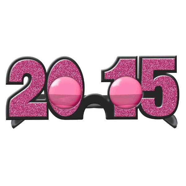 2015 New Year's Glitter Glasses - Bright Pink