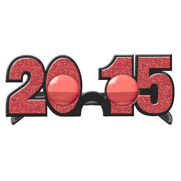 2015 New Year's Glitter Glasses - Red