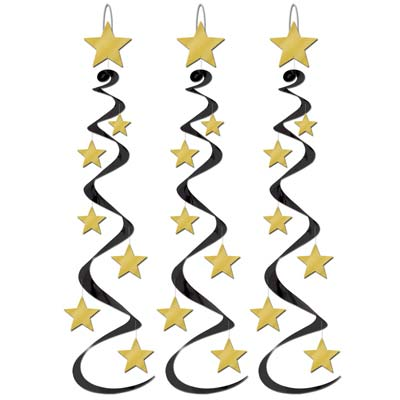 Star Whirls 30in black & gold 3 Ct