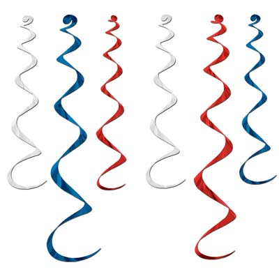 Twirly Whirlys 4-24in & 2-36in - Red White Blue