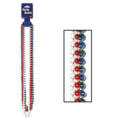 Party Beads - 7mm x 33in - Red White Blue 6ct