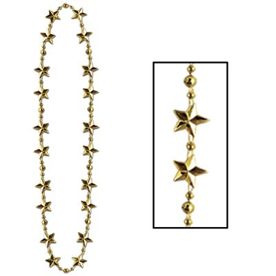 Star Beads 33in gold