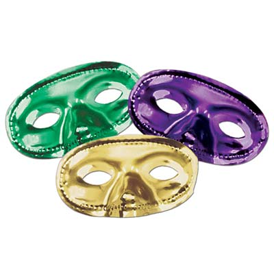 Metallic Half Mask- Assorted Gold Green Purple