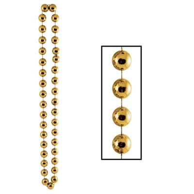 40 Inch 22mm Jumbo Bead Necklace - Gold