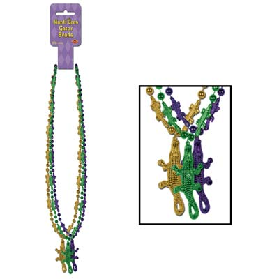 33 Inch Mardi Gras Gator Beads with Medallion - 6ct