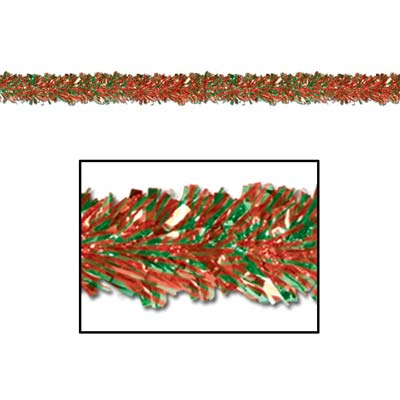 Festooning Garland 4in x 15ft red & green