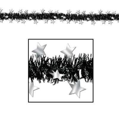 FR Metallic Star Garland 12ft black & silver