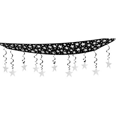 The Stars Are Out Ceiling Decor 12in x 12ft black & silver