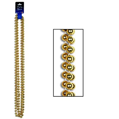Party Beads - Large Round 12mm x 48in gold 3 Ct
