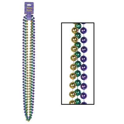 48 Inch 12mm Metallic Mardi Gras Bead Necklaces - 3ct