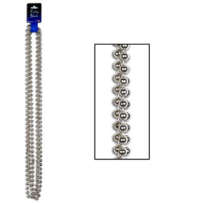 Party Beads - Large Round 12mm x 48in silver 3 Ct